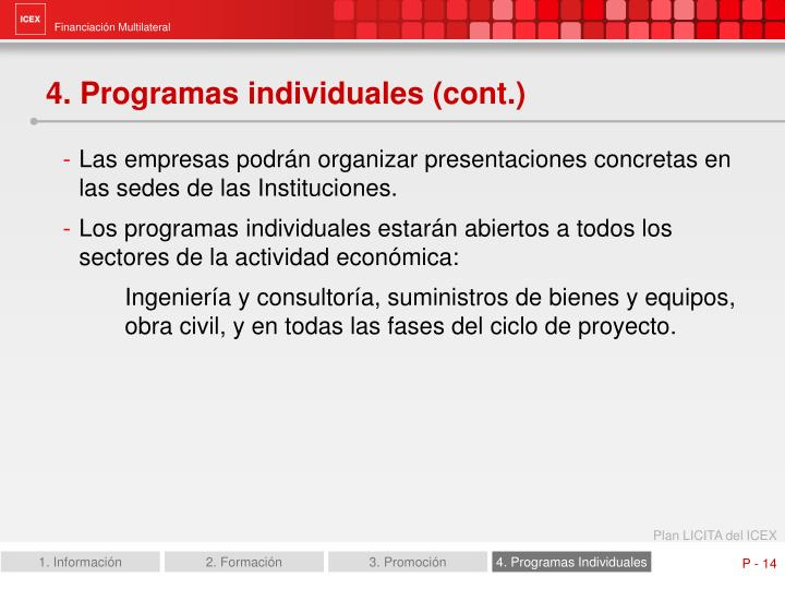 4. Programas individuales (cont.)