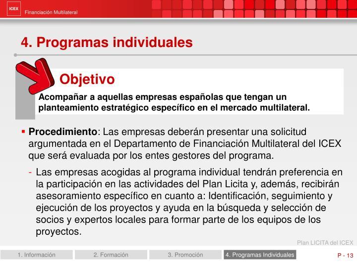 4. Programas individuales