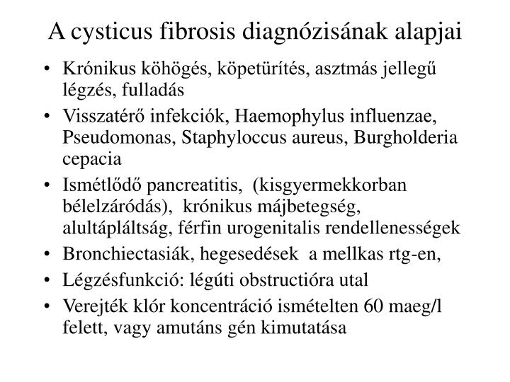 A cysticus fibrosis diagnózisának alapjai