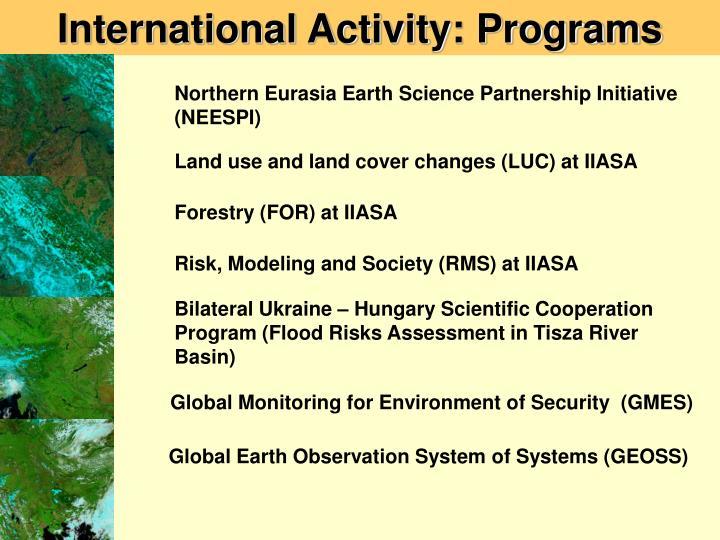 International Activity: Programs