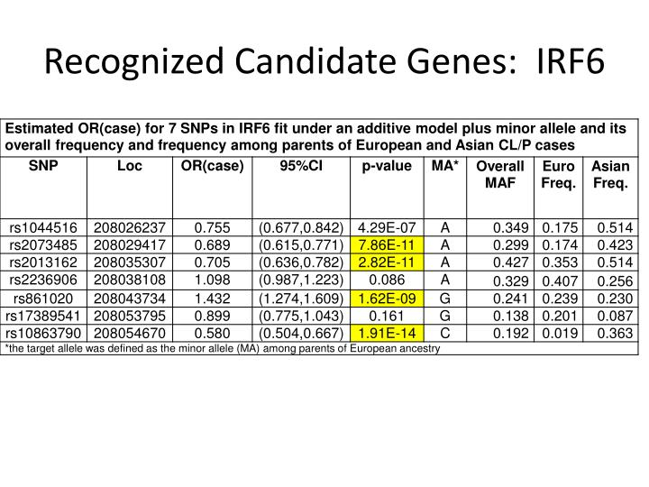 Recognized Candidate Genes:  IRF6