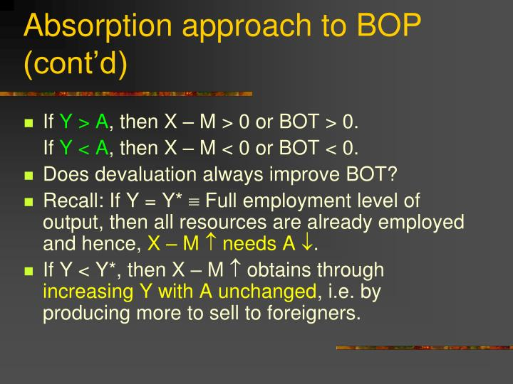 Absorption approach to BOP (cont'd)