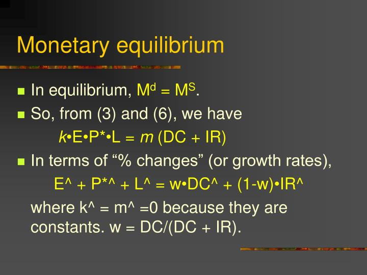 Monetary equilibrium