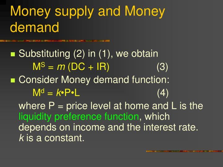 Money supply and Money demand