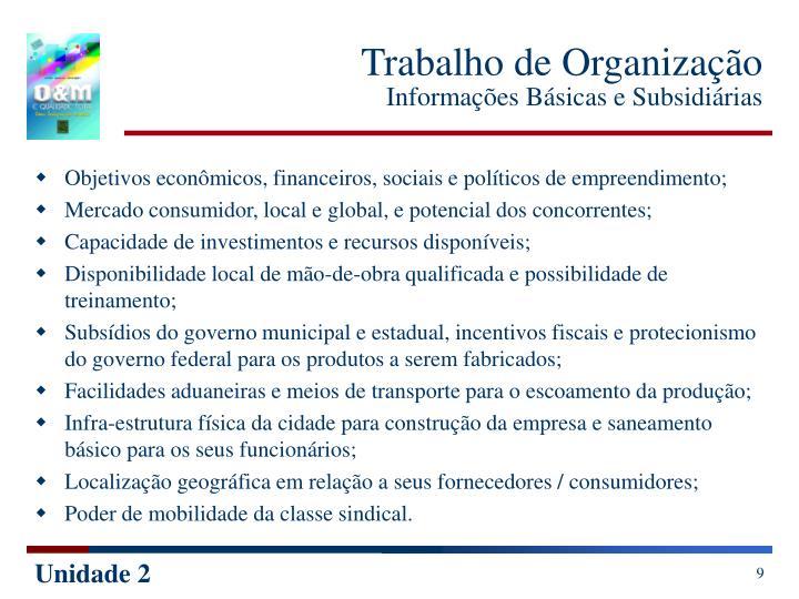 Trabalho de Organização