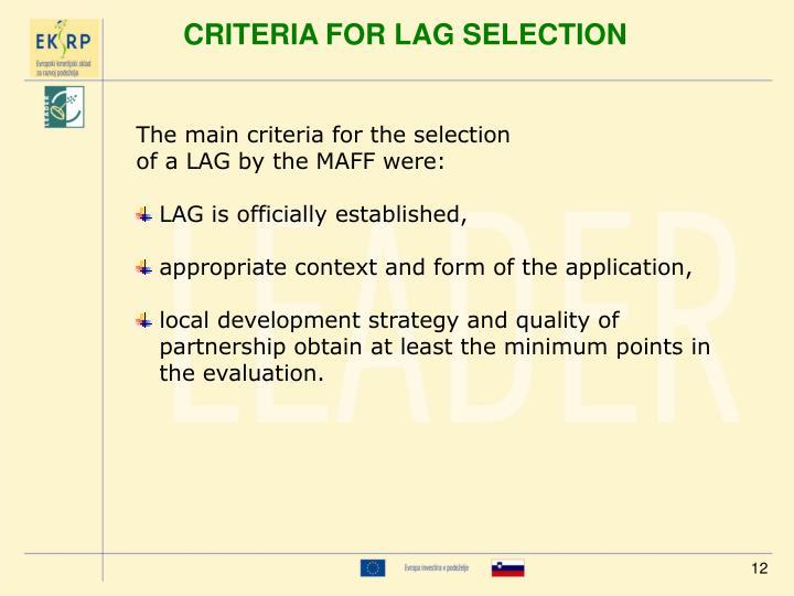 CRITERIA FOR LAG SELECTION