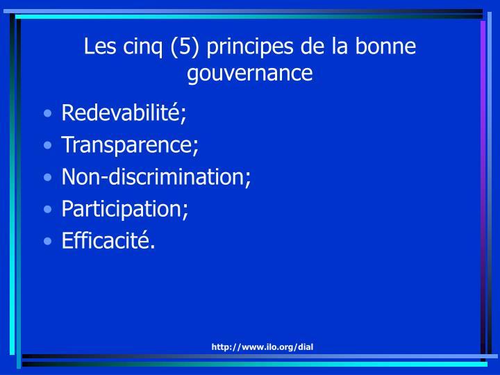 Les cinq (5) principes de la bonne gouvernance
