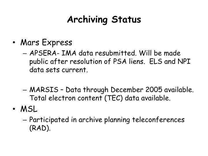 Archiving status1