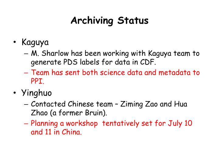 Archiving Status