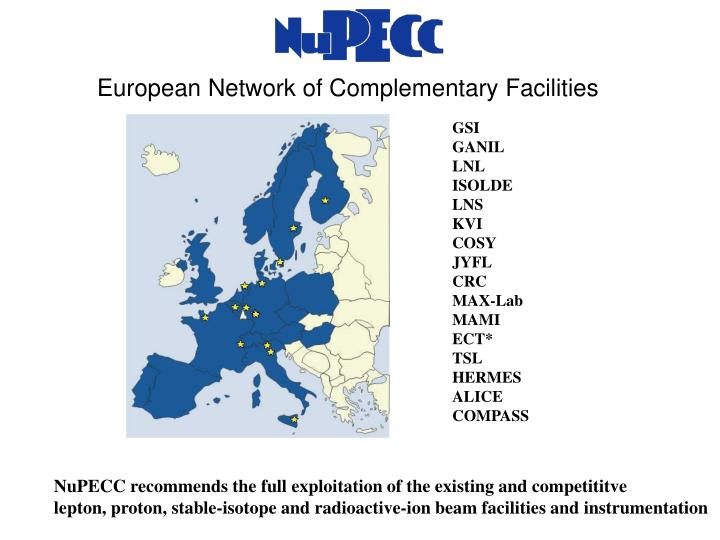 European network of complementary facilities