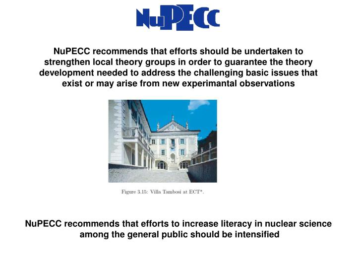 NuPECC recommends that efforts should be undertaken to strengthen local theory groups in order to guarantee the theory development needed to address the challenging basic issues that exist or may arise from new experimantal observations