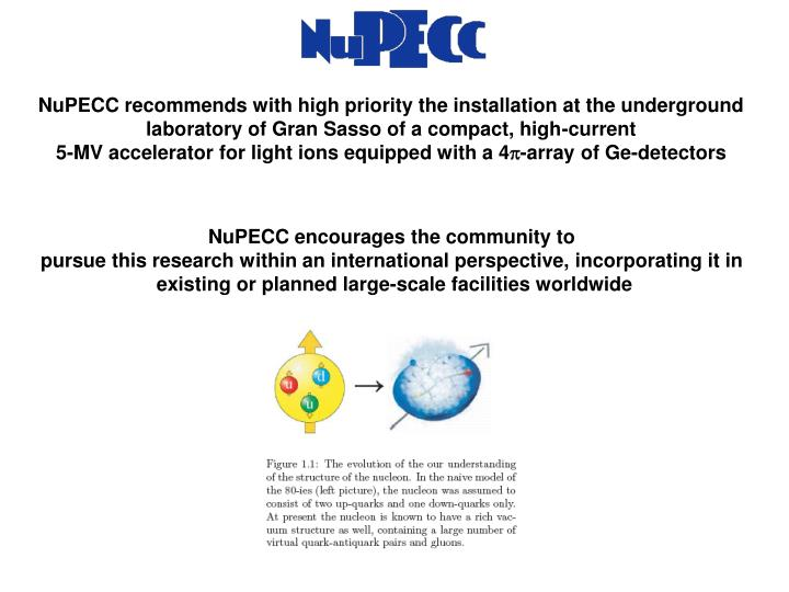 NuPECC recommends with high priority the installation at the underground laboratory of Gran Sasso of a compact, high-current