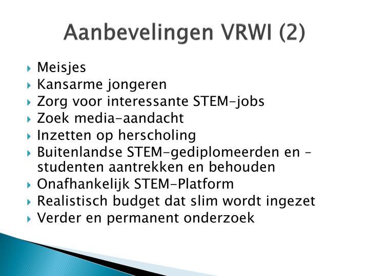 Aanbevelingen VRWI (2)