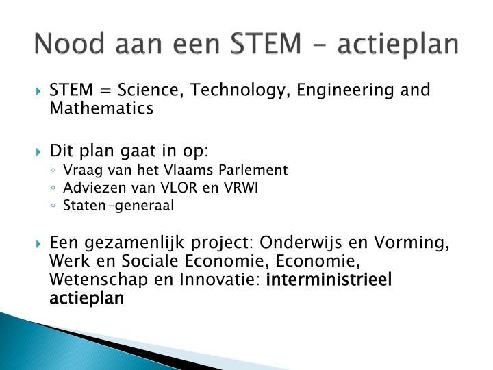Nood aan een STEM - actieplan