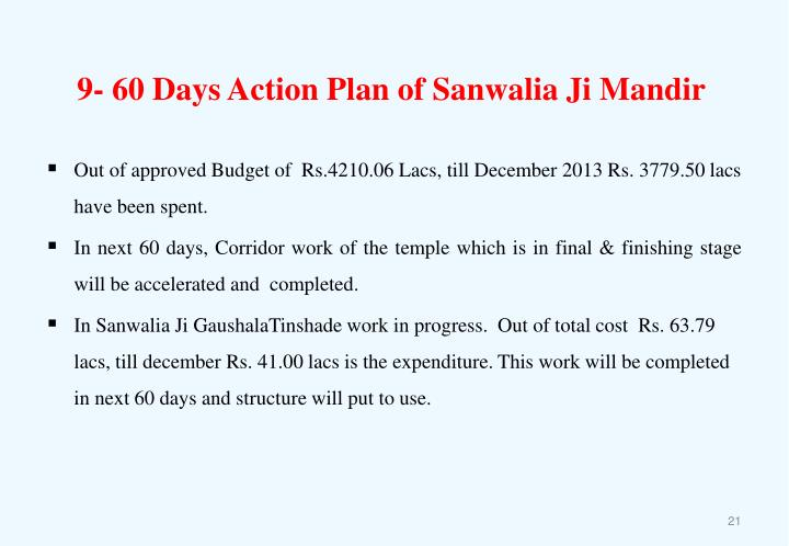 9- 60 Days Action Plan of Sanwalia Ji Mandir