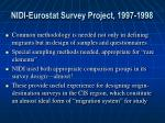 nidi eurostat survey project 1997 1998