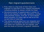 non migrant questionnaire