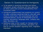 section 10 questionnaire for immigrants