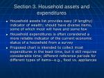 section 3 household assets and expenditures
