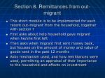 section 8 remittances from out migrant