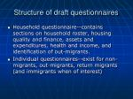 structure of draft questionnaires