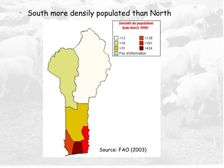 South more densily populated than North