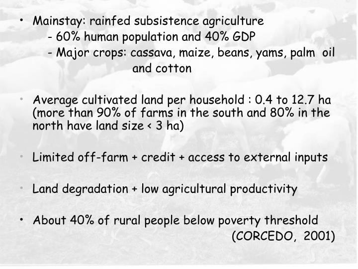 Mainstay: rainfed subsistence agriculture