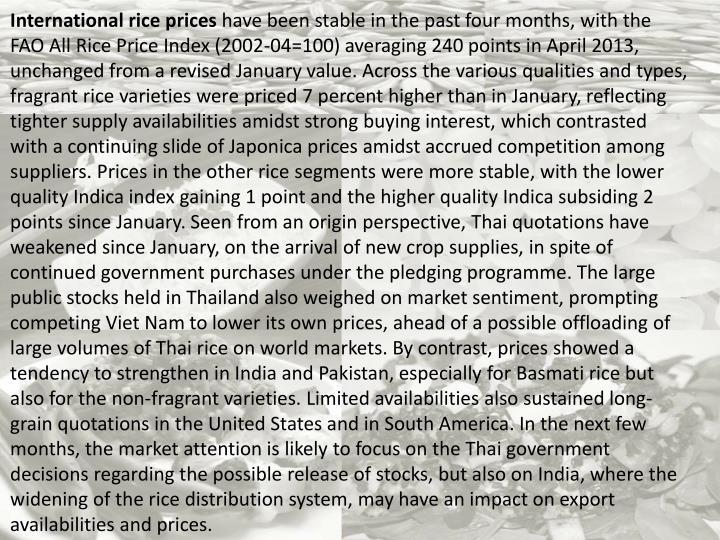International rice prices
