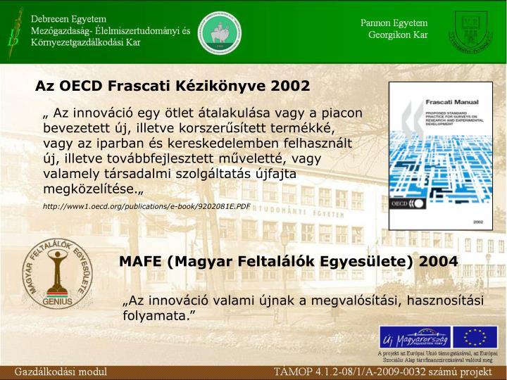 Az OECD Frascati Kézikönyve 2002