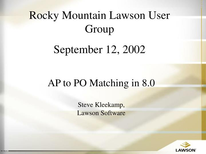 Rocky Mountain Lawson User Group