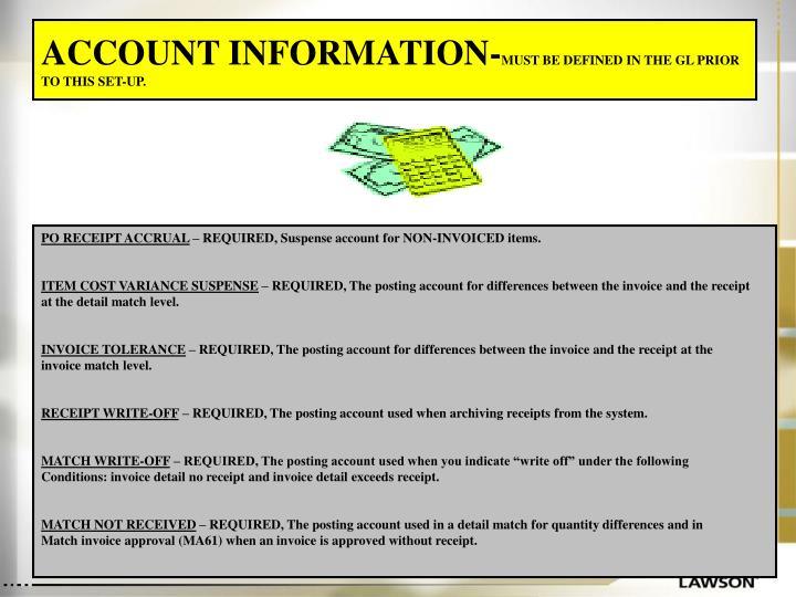 ACCOUNT INFORMATION-