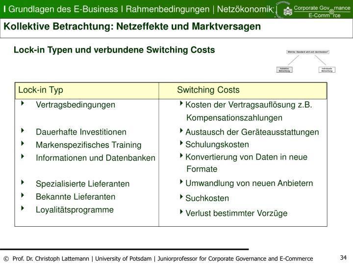 Lock-in Typen und verbundene Switching Costs
