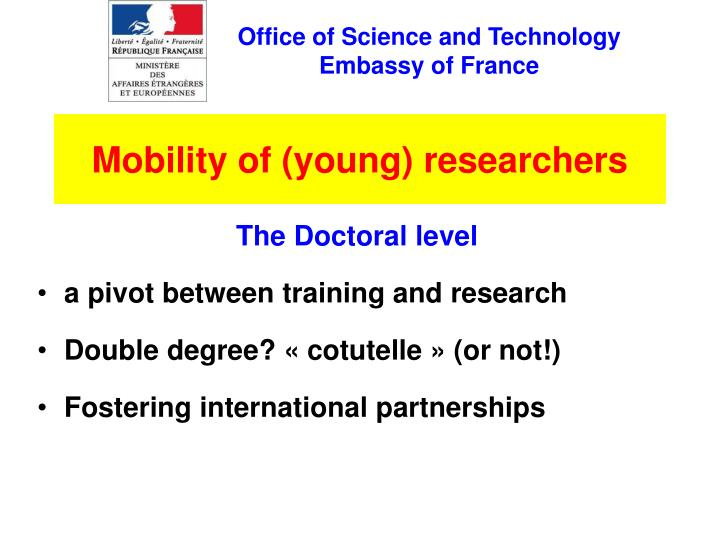 Mobility of young researchers