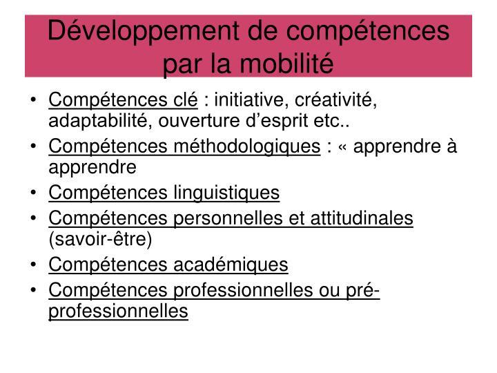 Développement de compétences par la mobilité