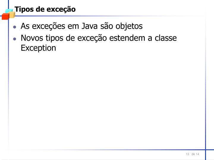 Tipos de exceção