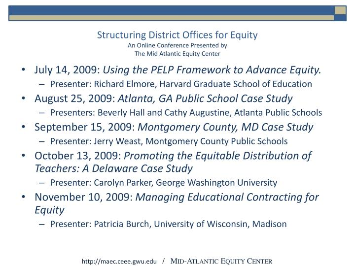 Structuring District Offices for Equity