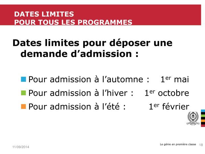 Dates limites