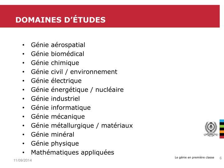 Domaines d'études