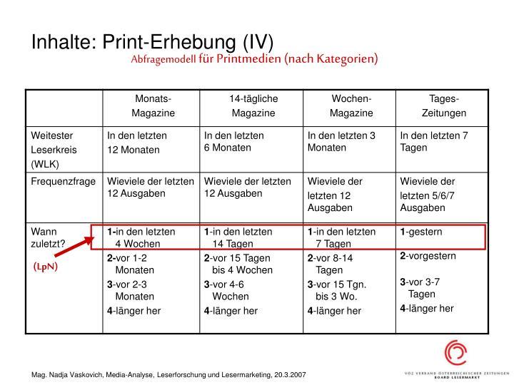Inhalte: Print-Erhebung (IV)