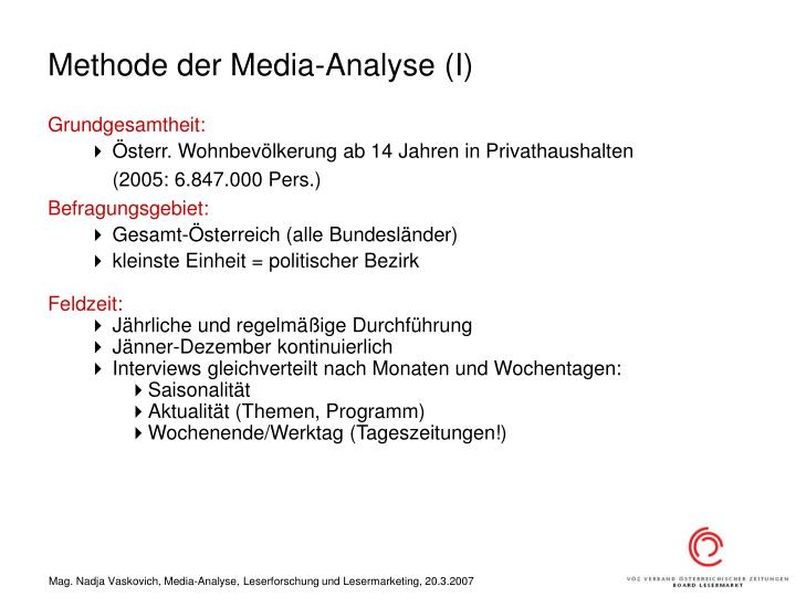Methode der Media-Analyse (I)