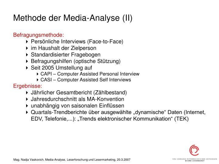 Methode der Media-Analyse (II)