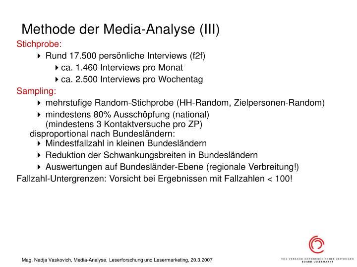 Methode der Media-Analyse (III)