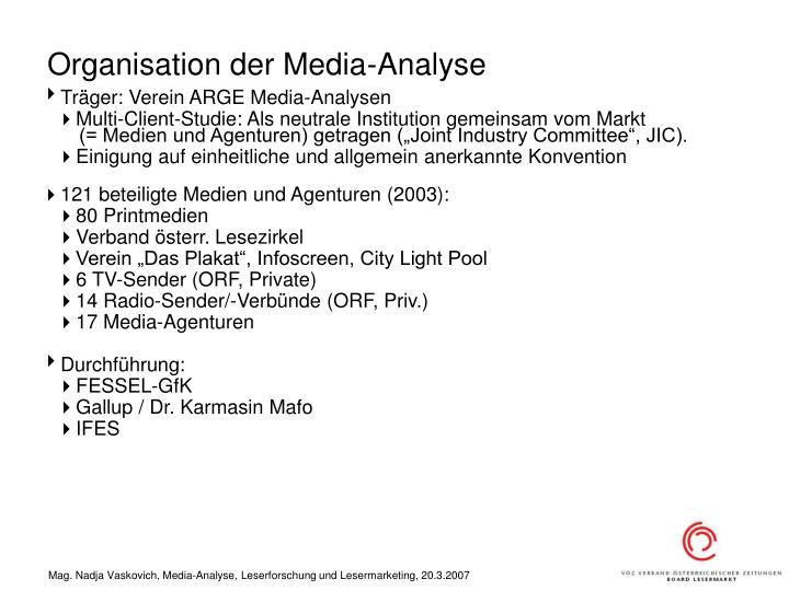 Organisation der Media-Analyse
