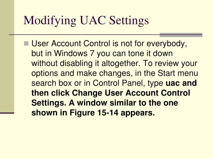 Modifying UAC Settings