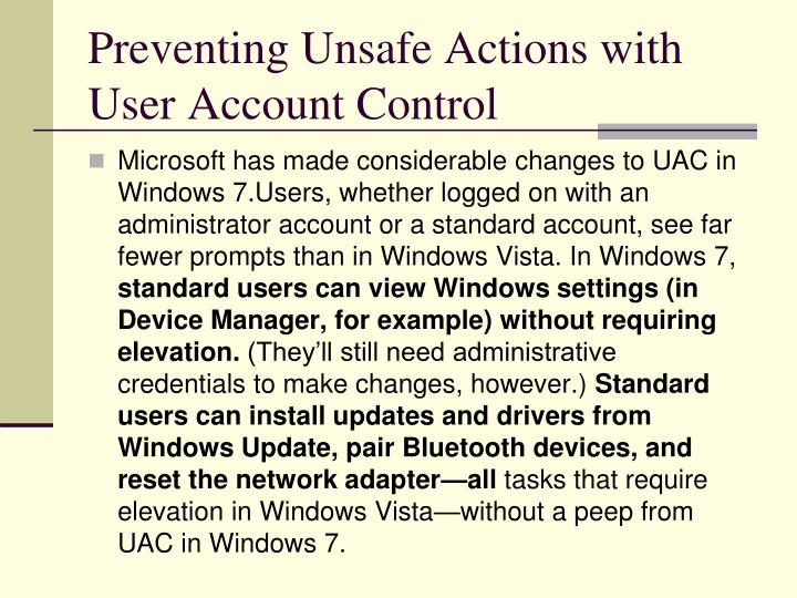 Preventing Unsafe Actions with User Account Control