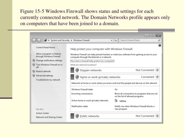 Figure 15-5 Windows Firewall shows status and settings for each currently connected network. The Domain Networks profile appears only on computers that have been joined to a domain.