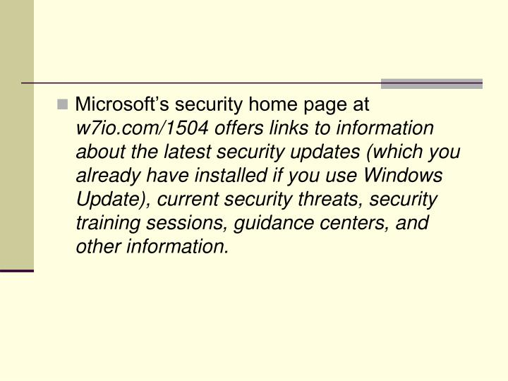 Microsoft's security home page at