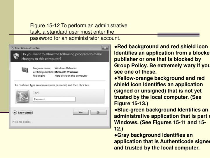 Figure 15-12 To perform an administrative task, a standard user must enter the password for an administrator account.