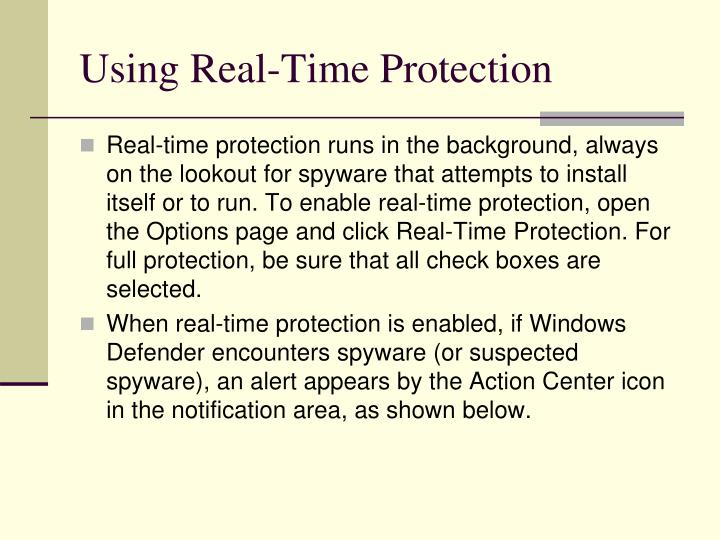 Using Real-Time Protection