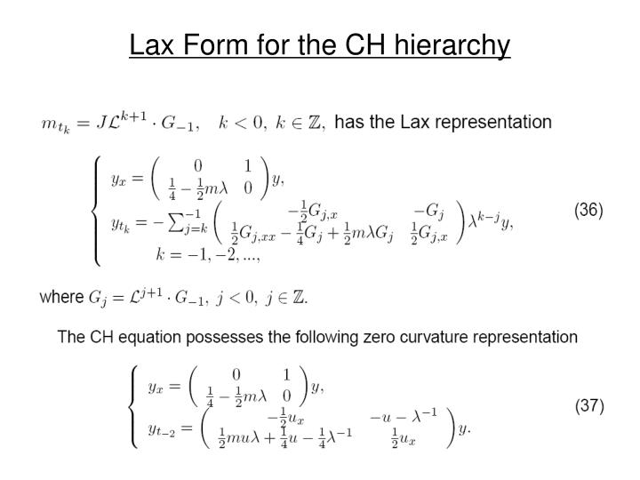 Lax Form for the CH hierarchy